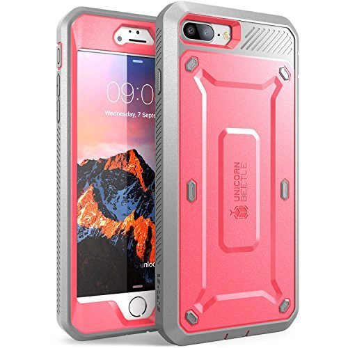 Iphone 7 Plus Case, iPhone 8 Plus Case, SUPCASE Full-body Rugged Holster Case with Built-in Screen Protector, Pink