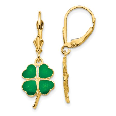 14k Yellow Gold Enameled Clover Leverback Earrings Lever Back Drop Dangle Good Luck Fine Jewelry Gifts For Women For Her - image 7 de 7