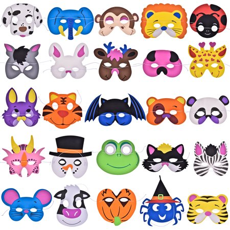Animal Masks Foam Dress Up Party Favors Set Toy for Girls and Boys Family Costume Halloween Dress-Up,Brithday Gift  25 PCs F-119