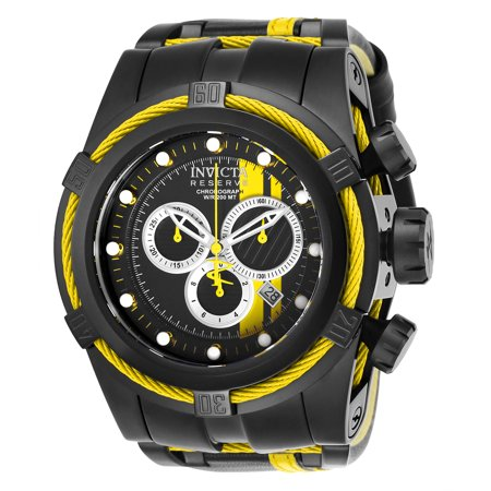 Chronograph Silver Dial Leather (Invicta Men's 26472 Reserve Quartz Chronograph Black, Yellow, Silver Dial Watch )