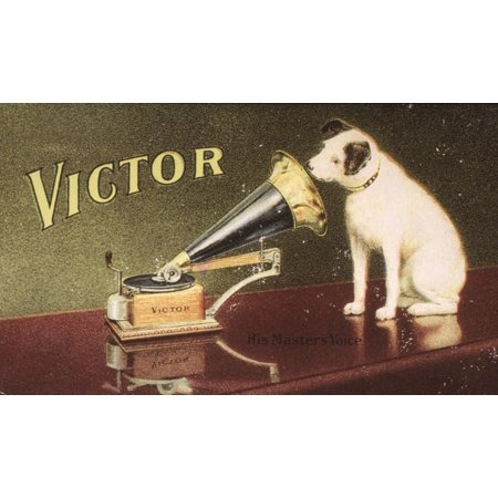 Rca Victor Trademark NHis MasterS Voice American MerchantS Trade Card C1906 For Victor Talking Machine Company Featuring Nipper The Dog Rolled Canvas Art -  (24 x 36) Victor Talking Machine Company