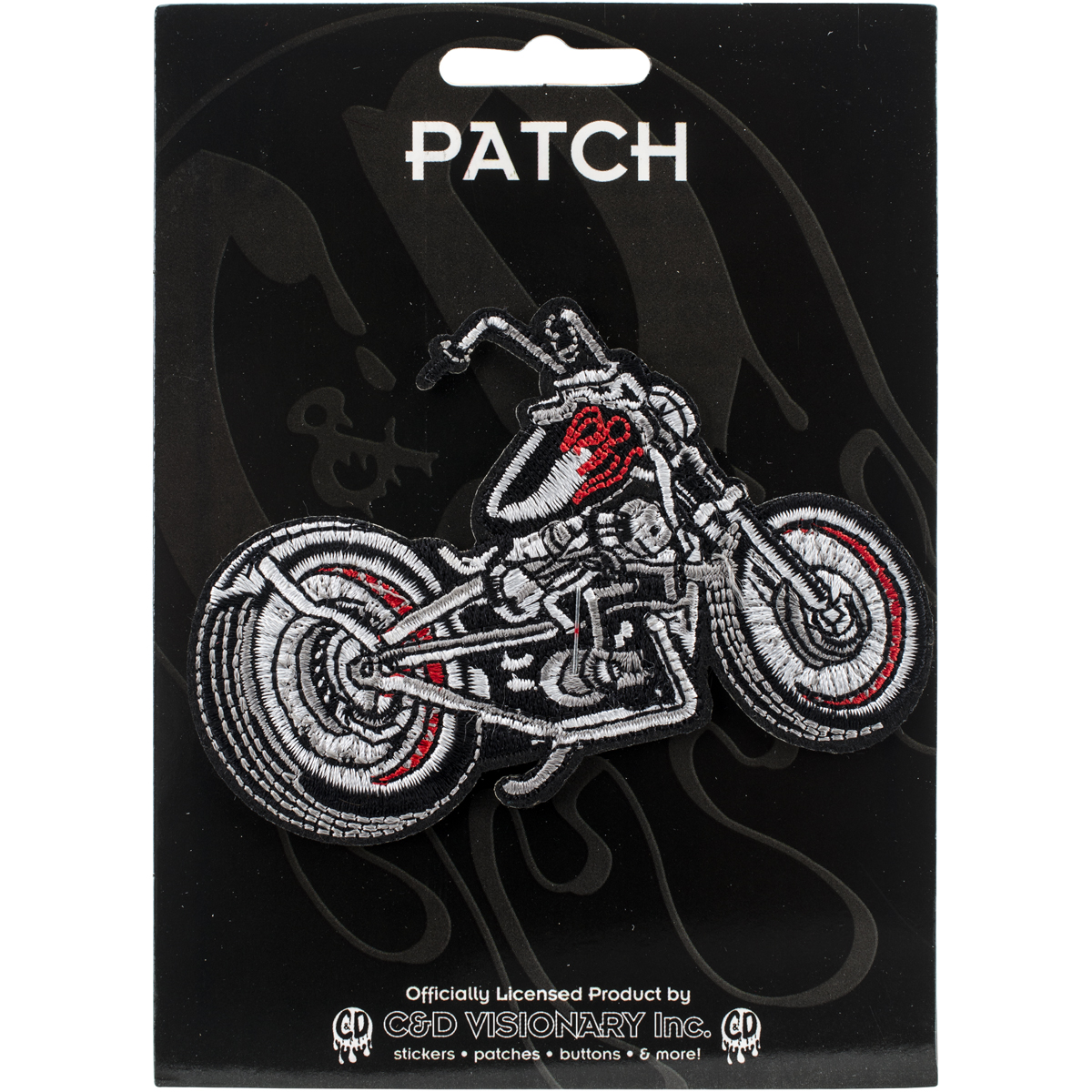 "C&D Visionary Patch-Black Chopper Motorcycle 3.5""X2"""