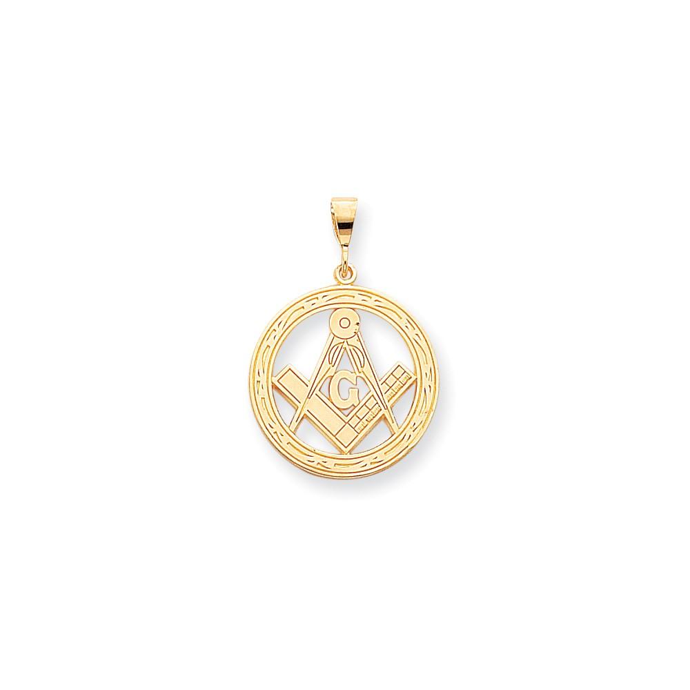 10k Yellow Gold Solid Masonic Symbol Pendant