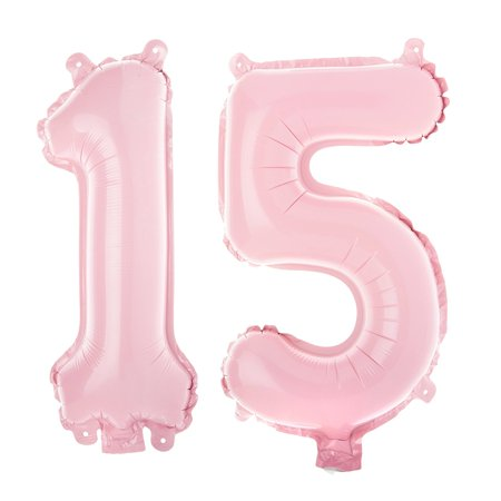 Non Floating 15 Number Balloons 15th Birthday Party Quinceanera Decorations Small 13 Inch Pink