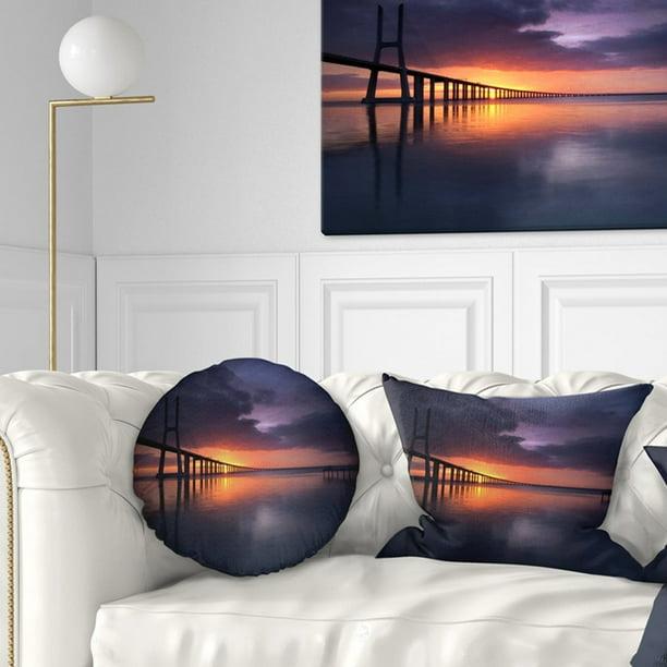 Design Art Designart Vasco Da Gama Bridge Portugal Pier Seascape Throw Pillow Walmart Com Walmart Com