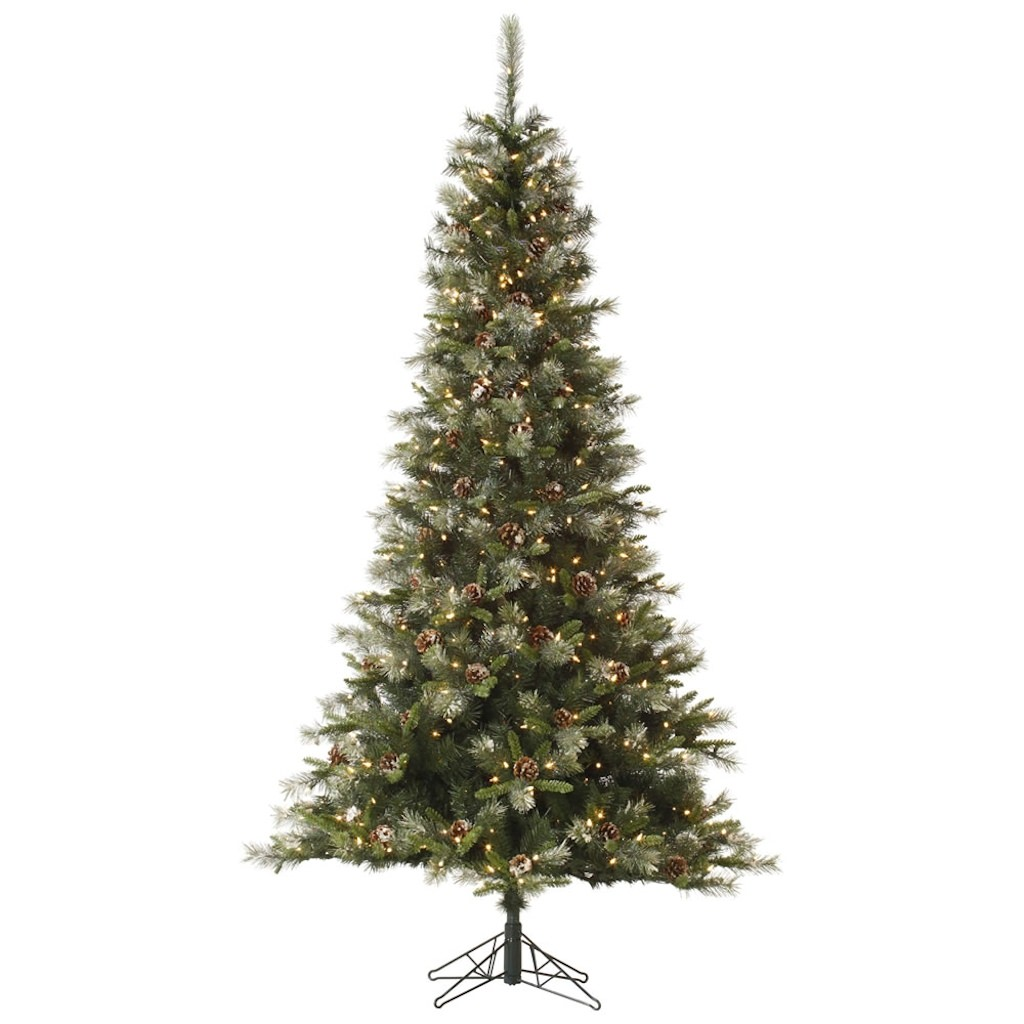 "Vickerman 32815 - 10' x 66"" Iced Sonoma Spruce 1,150 Clear DuraLit Miniature Lights with Pine Cones Christmas Tree (A145886)"