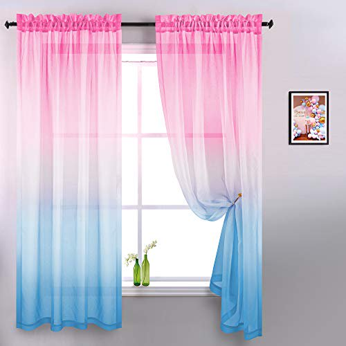 Baby Pink and Baby Blue Curtains for Girls Bedroom Decor Set 2