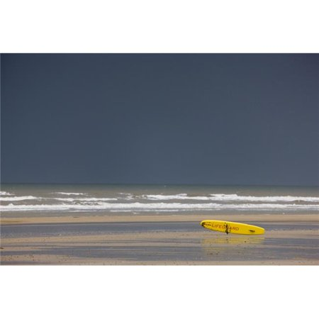 East Riding Yorkshire England - Surf Rescue Board Lying On The Foreshore Poster Print, Large - 36 x 24