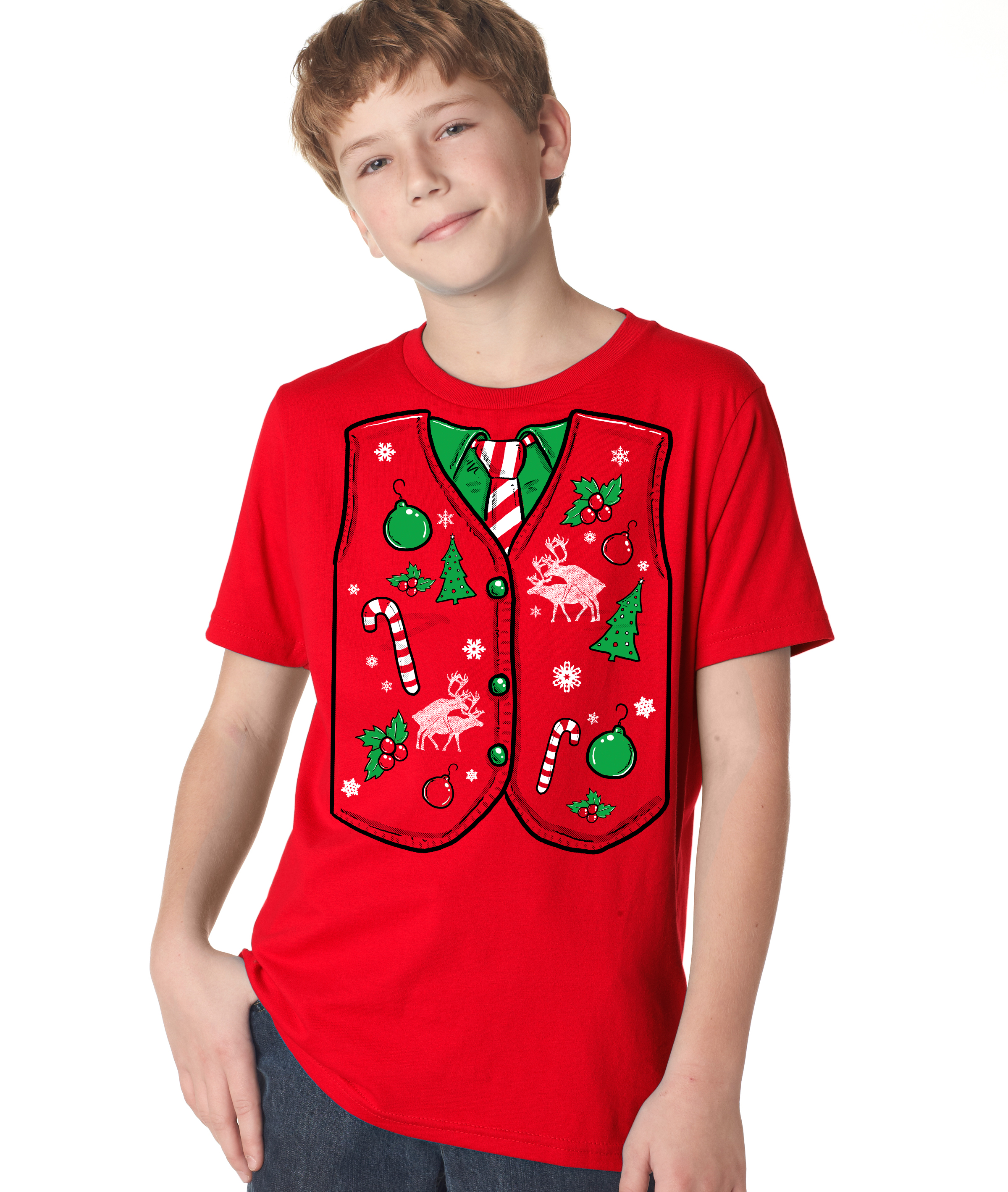Youth Ugly Christmas Sweater Vest T Shirt Funny Xmas Shirt for Kids ...