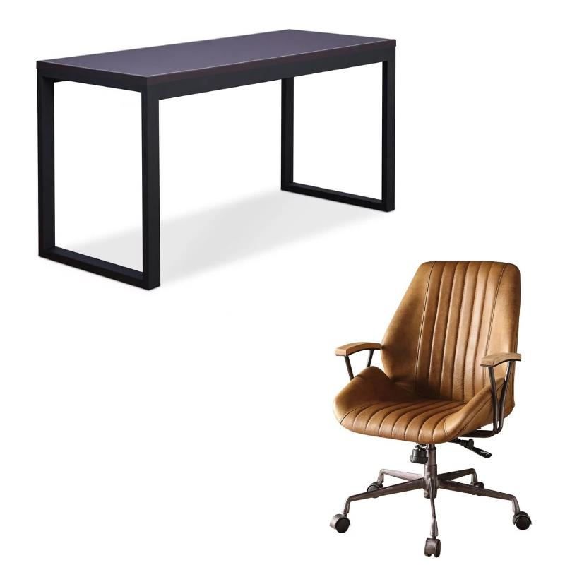 Modern 2 Piece Desk and Leather Swivel Office Chair Set