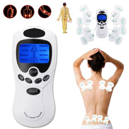 Electronic Pulse Massager Muscle Stimulator Tens Unit with 8 Modes and 8 Pads Back Lumbar Pain Relief Machine,For Use on Entire Body