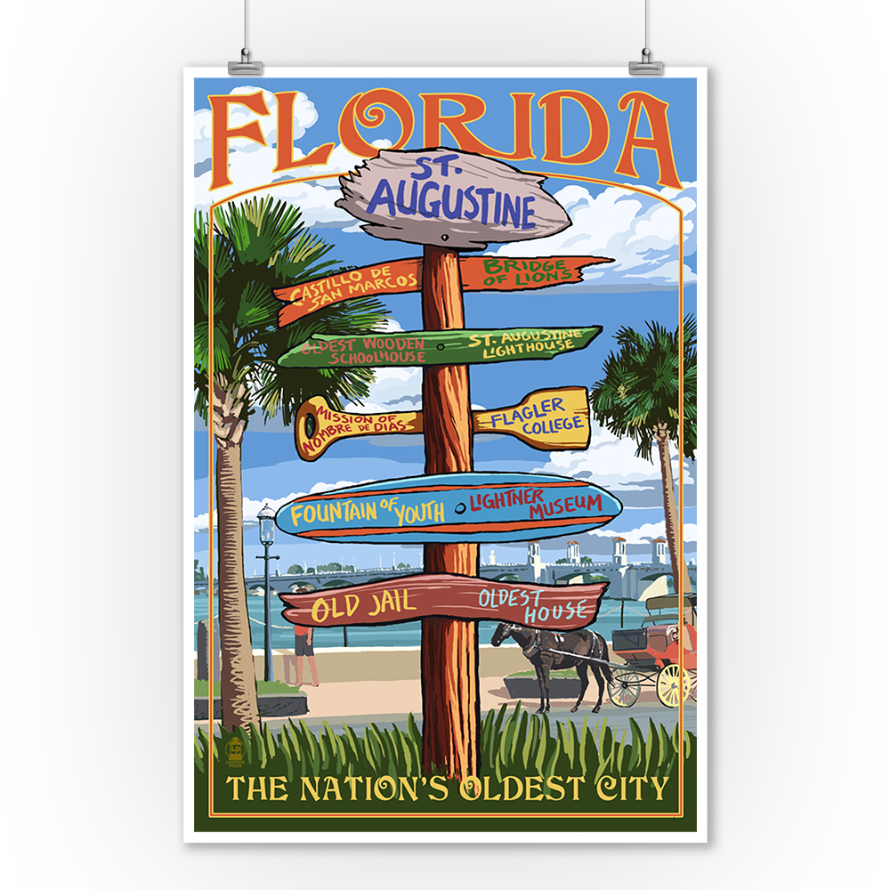AUGUSTINE FLORIDA Rustic Painted Wooden Sign ST
