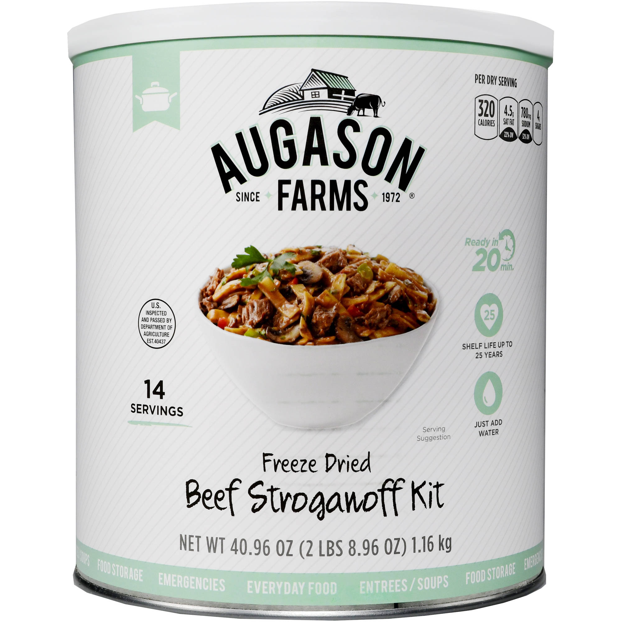 Augason Farms Emergency Food Freeze Dried Beef Stroganoff Meal Kit, 40.96 oz