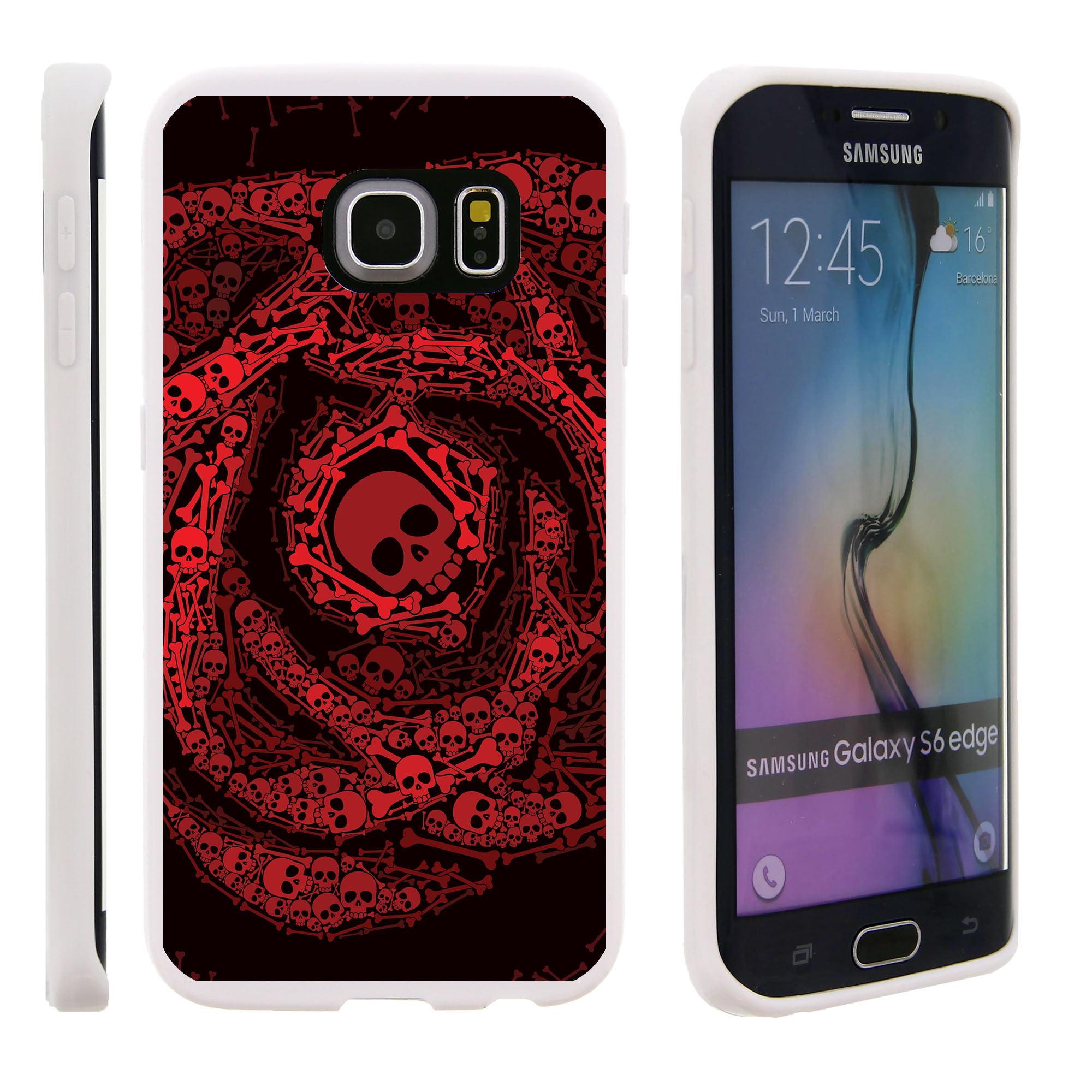 Samsung Galaxy S6 Edge G925, Flexible Case [FLEX FORCE] Slim Durable TPU Sleek Bumper with Unique Designs - Red Swirl Skulls