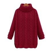 Womens Turtle Neck Cable Knit Sweater