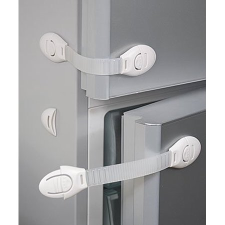 All Purpose Adjustable Safety Strap (White) The All-Purpose Adjustable Safety Strap by Safety Innovations has many different uses. It works on appliances such as microwave ovens, washing machines, dryers, file cabinets and mirrored or glass doors (not for use on ovens). Easy adhesive installation, no tools needed.