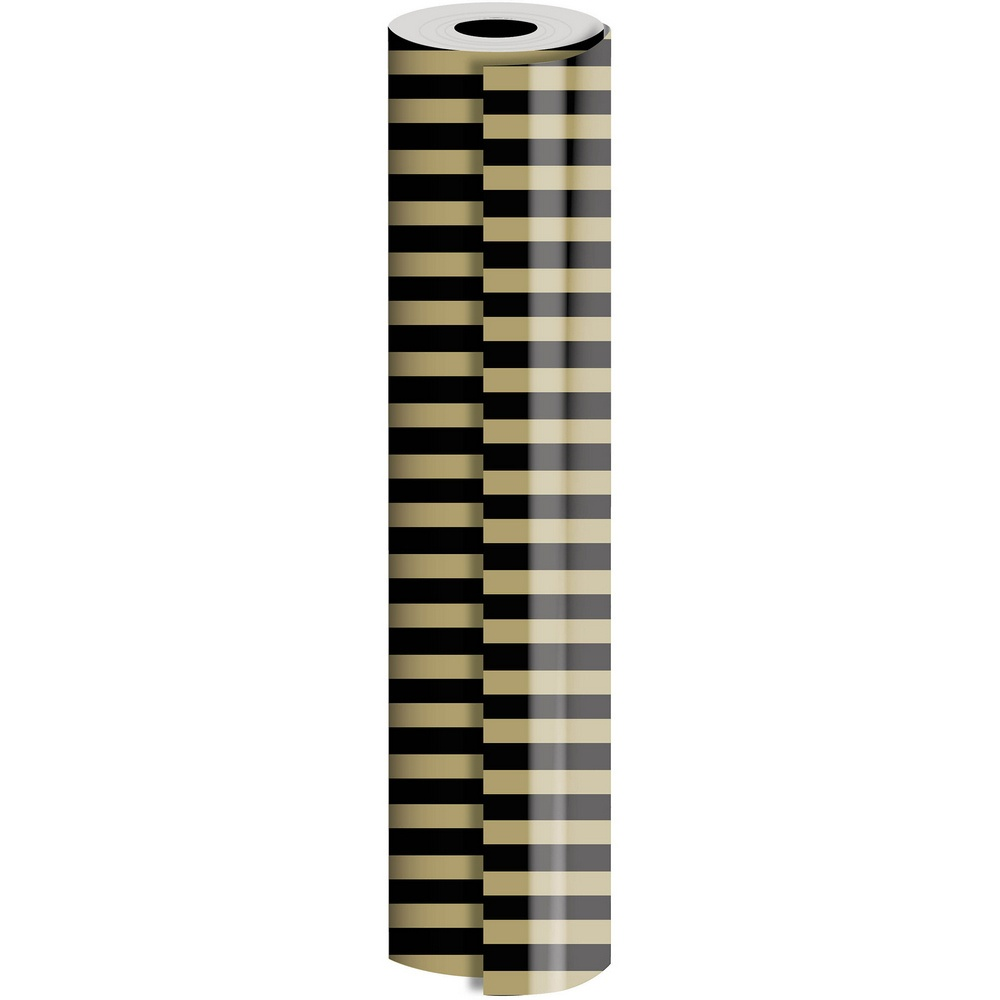 JAM Paper® Industrial Size Bulk Wrapping Paper Rolls, Black Gold Stripe Design, 1/2 Ream (1042.5 Sq Ft), Sold Individually