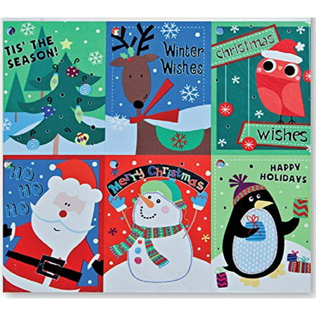 Halloween Themed Name Tags (Christmas Gift Tags Embelished Foil Finish Holiday Present Name Tags 48 Big Hangers in 6 Assorted Designs Santa, Penguin, Snowman, Reindeer, Owl, Tree,)