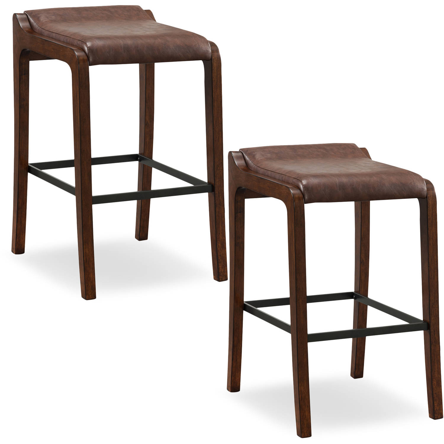 Leick Home 10117SN/SB Wood Fastback Bar Height Stool with Faux Leather Seat, Set of 2, Multiple Colors