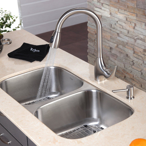 Kraus 32.25'' x 18.5'' 8 Piece Undermount Double Bowl Kitchen Sink Set