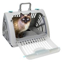 SPORT PET SportPet Designs Foldable Travel Cat Carrier with A Waterproof Bed - Front Door Plastic Collapsible Carrier, Gray (CM-10064-CS01)