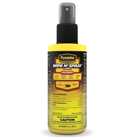 PYRANHA HORSE REPELS  WATER RESSISTENT WIPE N FLY PROTECTION SPRAY 4 OZ