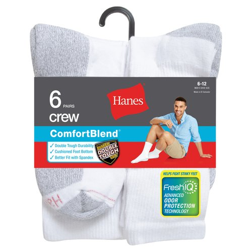 Hanes Big & Tall Men's FreshIQ Comfort Toe Crew Socks Size 12-14 6-Pack