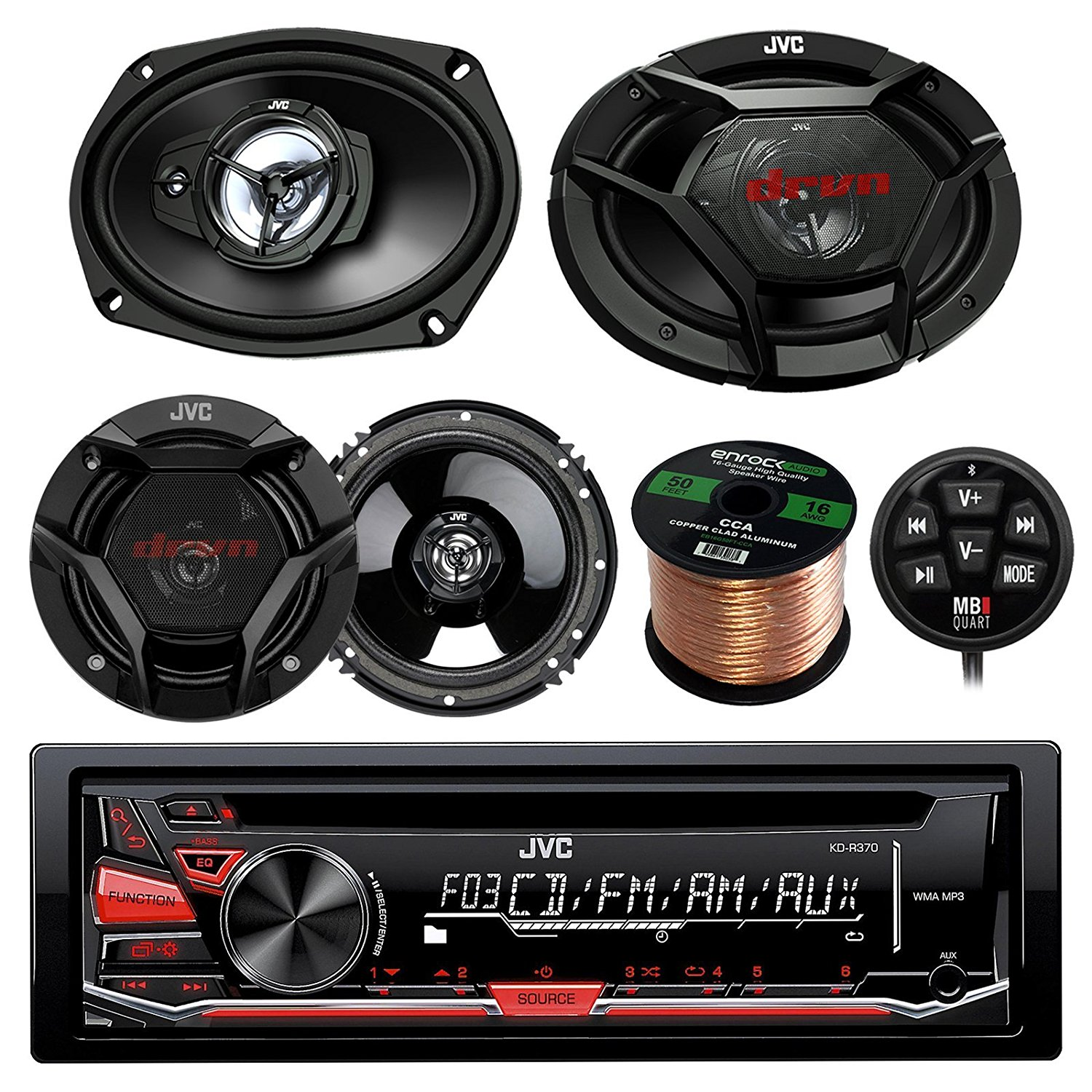 "JVC KDR370 CD/MP3/WMA Receiver With Bluetooth Adapter Bundle Combo With 2x CSDR6930 6x9"" 3-Way Vehicle Stereo Coaxial Speakers + 2x CSDR620 6.5"" 2-Way Audio Speaker + Enrock 50Ft 16g Speaker Wire"