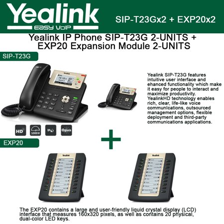 Yealink Sip T23g 2 Pack Ip Phone Poe   Exp20 2 Pack Lcd Expansion Module