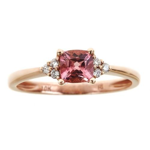 Anika and August 10k Rose Gold Cushion-cut Pink Tourmaline and Diamond Accent Ring by Overstock