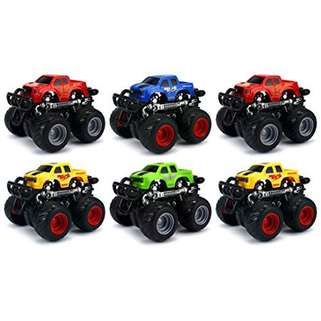 Pack of 6 Champion 4WD Big Foot SUV Mini Monster Friction Toy Trucks (Colors May Vary) (Monster Truck Toys)