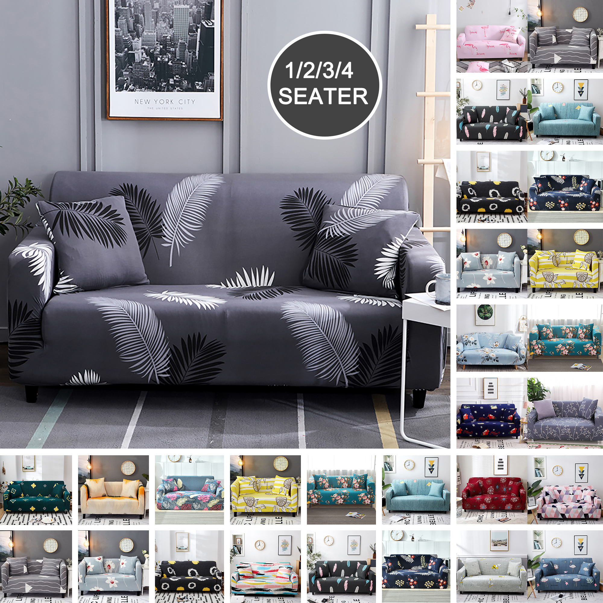 Stretch Fit Lounge Couch Sofa Cover Slipcover Recliner Protector 1//2//3//4 Seater