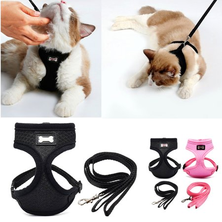 Escape Proof Pet Cat Harness with Leash Adjustable Soft Mesh - Best for