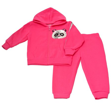 Baby Girls Fuchsia Sequin Bear Face Applique Top 2 Pc Pant Outfit 4 Piece Baby Bear Pants
