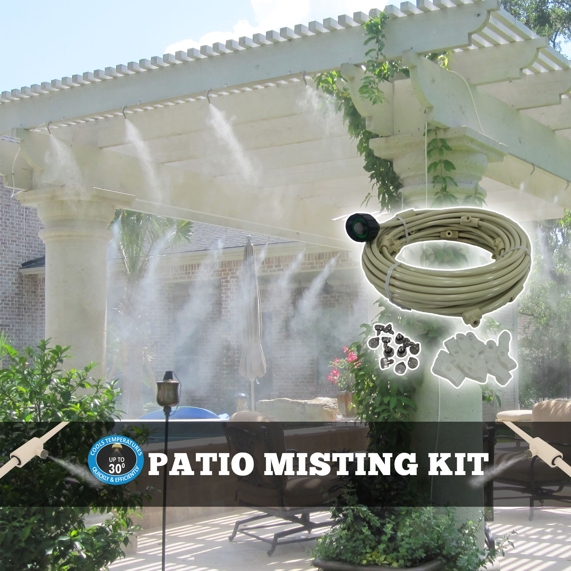 Misting system for outdoor cooling. by Supplier Generic