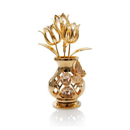 Matashi Crystal Mothers Day Gift 24K Gold Plated Beautifully Crafted Tulips with Butterfly In A Vase Table Top