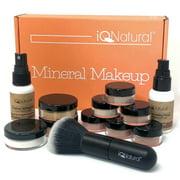 IQ Natural Mineral Makeup Set - 12 Piece Starter Set with Brush [MEDIUM]