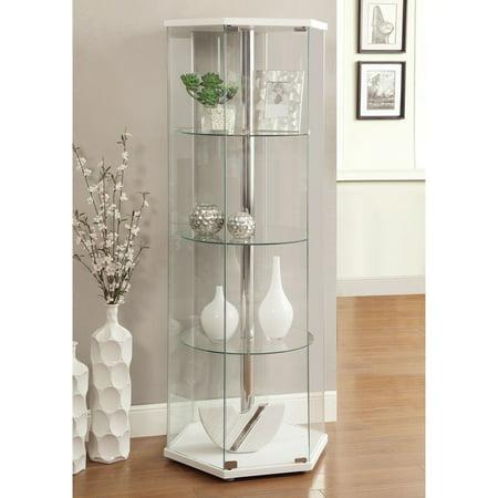 Clear Curio Cabinet (Coaster Company Hexagon Shaped Curio with Center Pole,)