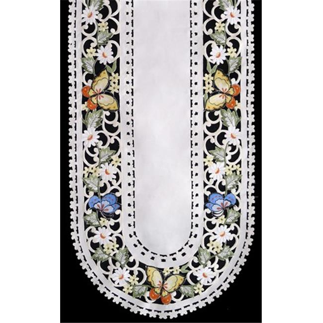 Sinobrite H7854-E Multicolor Butterfly Oval Runner, 14 x 28 in.