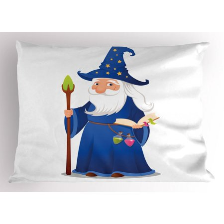 - Wizard Pillow Sham, Sweet Old Cartoon Wizard with Spell Book Potions and Staff Friendly Wise Sorcerer, Decorative Standard Size Printed Pillowcase, 26 X 20 Inches, Multicolor, by Ambesonne