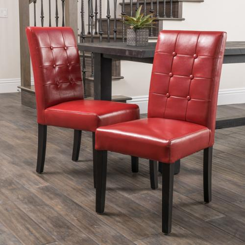 Christopher Knight Home Roland Red Bonded Leather Dining Chairs by (Set of 2) by Overstock