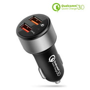 Dual USB Port Car Charger with Quick Charge 3.0 Smart Fast Charge Port Power Adapter for iPhone X/8/7/Plus, iPad Pro/Air/Mini, Samsung Galaxy S9/S8/Note 8, LG G6/V30 Android, iOS Smartphone Tablet