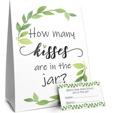 How Many Kisses Baby Shower or Bridal Shower Game | Greenery Theme | Standing Sign and 30 Guess Cards