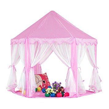 Kingmountain Princess Castle Play Tent For Kids  Gazebo Tent   Playhouses For Girls  Perfect Gift Presents For Childs Toddlers Newest Toys Pink  Balls Not Included