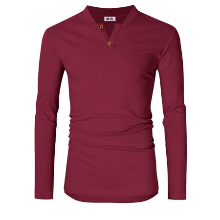 Men's Casual Linen and Cotton V neck Long Sleeve Henley T-Shirts