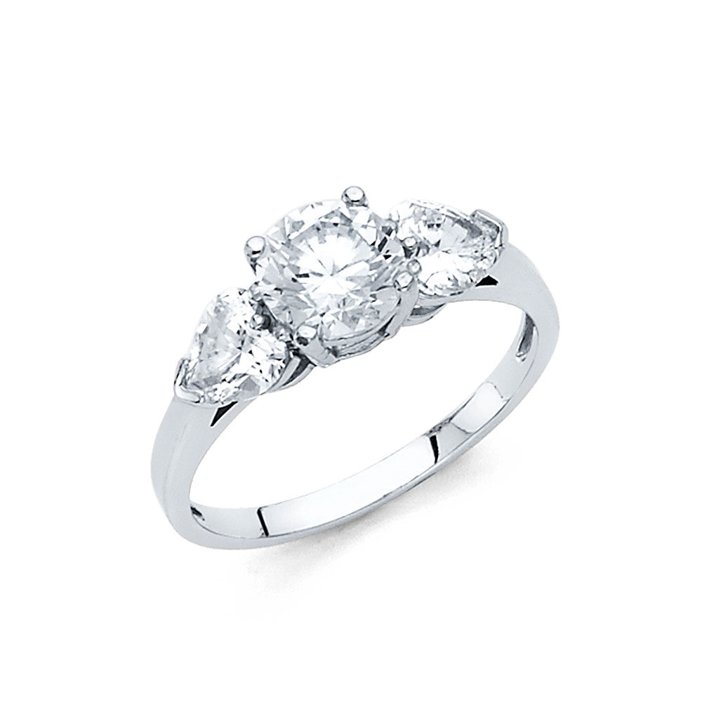 Paradise 14K Solid White Gold Cubic Zirconia Round Cut We...