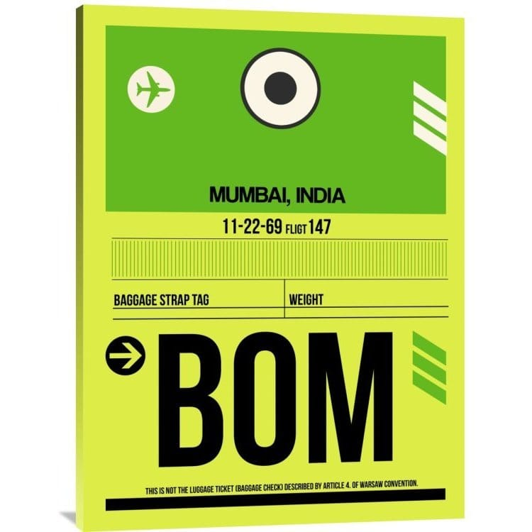 Naxart Studio  'BOM Mumbai Luggage Tag I' Stretched Canvas Wall Art