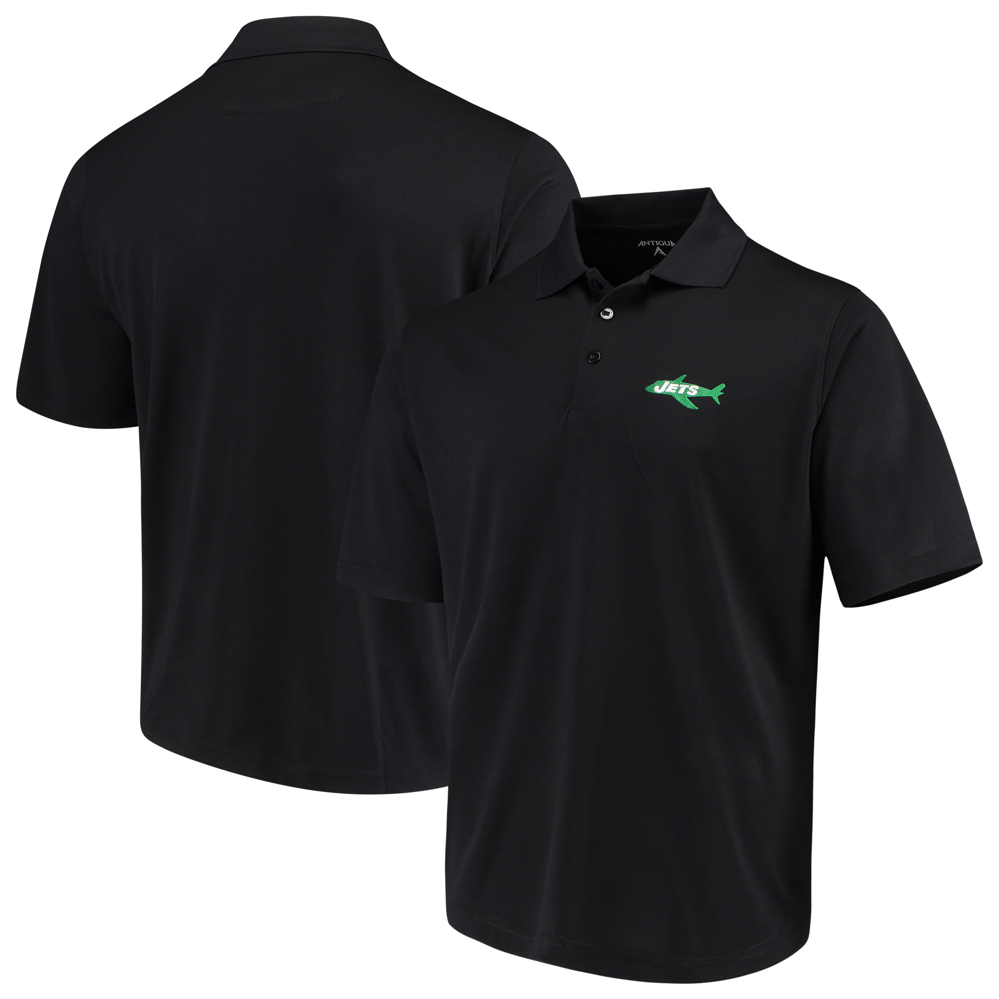 New York Jets Antigua Throwback Pique Polo - Black