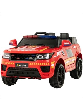 Uenjoy 12V Kids Fire Fighter Ride On SUV Battery Operated Electric Cars w/2.4G Remote Control, LED Siren Flashing Light, Music&Horn Intercom, Bumper Guard, Openable Doors, AUX, USB Port, Bluetooth,Red