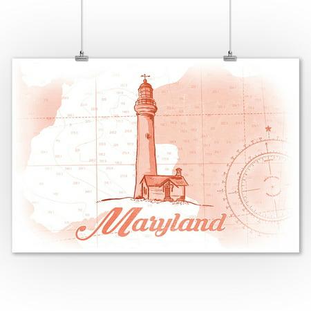 Maryland Lighthouses - Maryland - Lighthouse - Coral - Coastal Icon - Lantern Press Artwork (9x12 Art Print, Wall Decor Travel Poster)